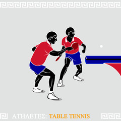 Greek art stylized table tennis players at the table corner