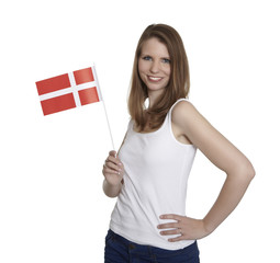Female Fan shows danish flag
