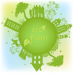 Papiers peints Hibou Green ecological planet