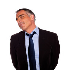 Attractive hispanic senior businessman
