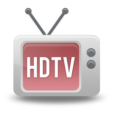 "Cartoon-style TV Icon with ""HDTV"" wording on screen"