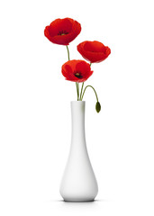 Bouquet de 3 coquelicots dans un vase. red Poppies