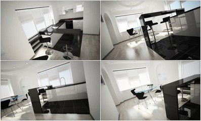 3d interior of the kitchen