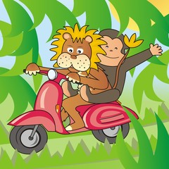Foto auf Leinwand Waldtiere lion and a monkey on a bike