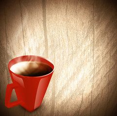 Vintage wooden background with cup of tea