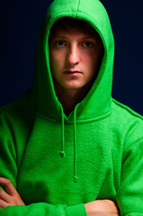 young man in hood