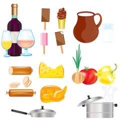 Varied food and drink on white background