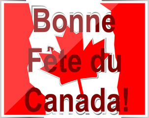French Happy Canada Day vector card