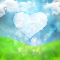 Abstract romantic love background with heart made of cloud