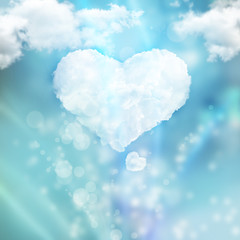 Heart from cloud against beautiful romantic background