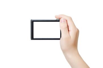Hand holding digital camera, rear view