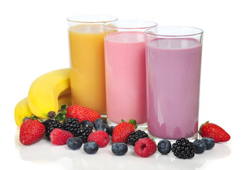 Three glasses of  smoothies