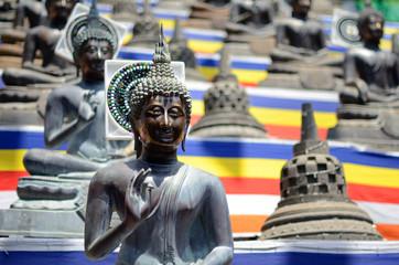 Buddha statues at Gangarama Temple in Colombo,Sri Lanka