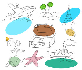 Vector vacation collection on a white background