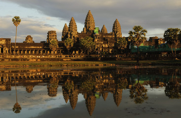 angkor wat temples by sunset, siem reap, cambodia