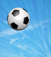 soccer ball on blue sky