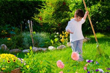 Baby gardener working