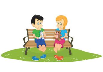 Kids sitting on bench vector