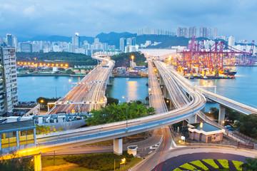 City scene night traffic in Hong Kong
