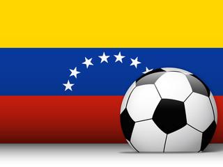 Venezuela Soccer Ball with Flag Background