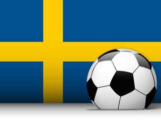Sweden Soccer Ball with Flag Background