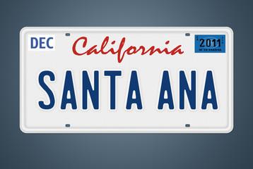 Nummernschild CA Santa Ana