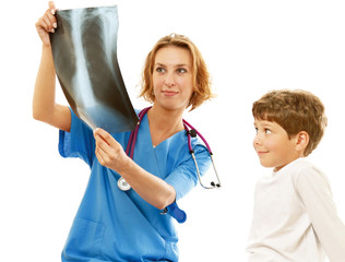 A doctor is showing to a boy a x-ray shot, isolated on white