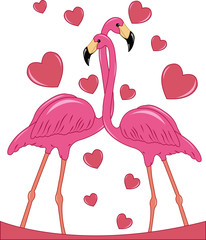 Photo sur Plexiglas Hibou Two enamoured flamingos