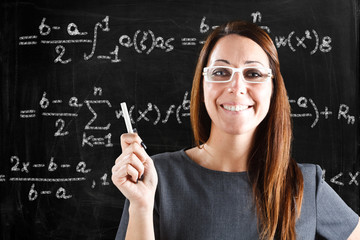Teacher showing a math formula on a blackboard