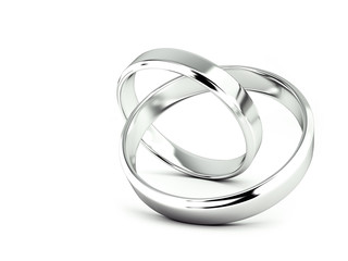 Jointed wedding rings, 3d rendering