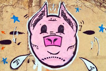 Schwein Graffiti Mauer Pink