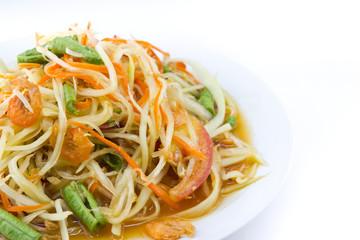 Spicy green papaya salad,  Thai cuisine .