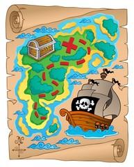 Foto op Plexiglas Piraten Parchment with treasure map 2