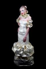 Beautiful woman in golden venetian dress