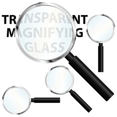 Magnifiers set with transparent glasses.