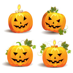 Halloween pumpkins with candle