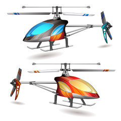 Two helicopters on white background