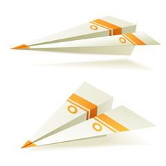Origami planes decoraed with orange stripes