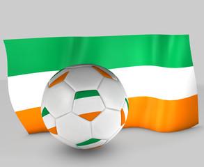 Balón  de fútbol y bandera de Irlanda