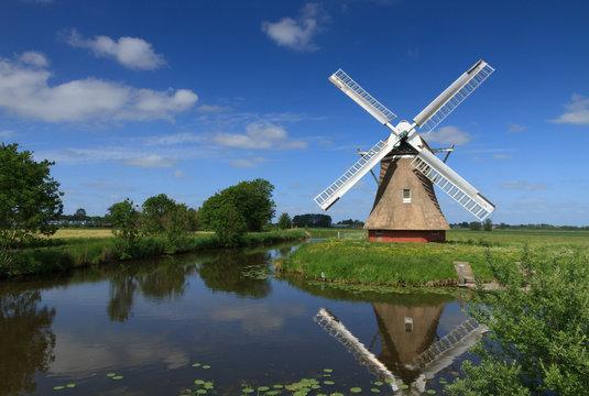 Windmill in Dutch polder