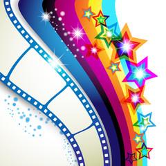 Film frames over colorful background