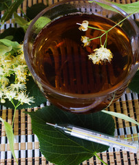 Linden tea and a thermometer