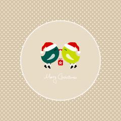 2 Green Birds Flying Holding Christmas Gift Dots Frame