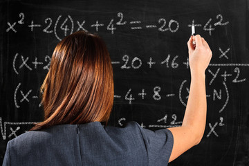 Woman writing a math formula on a blackboard