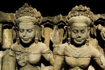 two apsara statues in angkor wat