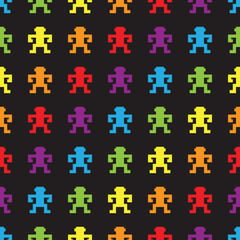 Fotobehang Pixel Retro rainbow pixel game monkeys seamless pattern