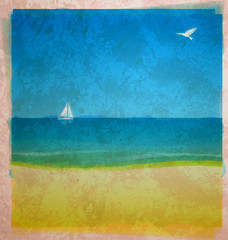 watercolor beach with sea and white yacht on the horizon with bi