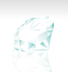 vector diamond stone on white background with reflextion