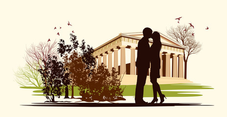 kissing couple in historical square