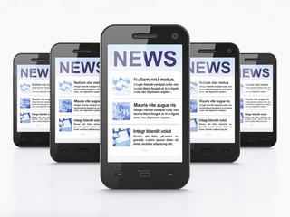 Digital news on smartphone screen